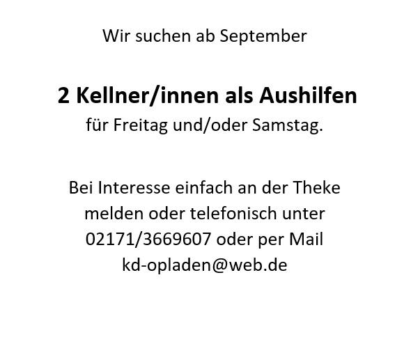 Job Kellnern Theke KD Leverkusen Opladen